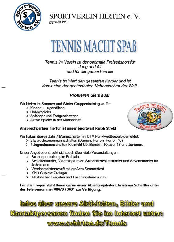 SVH-Infobroschüre Tennis